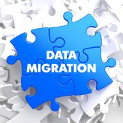 Data Migration on Blue Puzzle - stock illustration