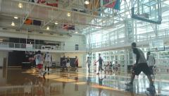 League Basketball Game in Gym 1 - stock footage