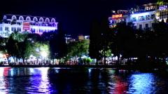 Time Lapse Zoom of Hoan Kiem Lake and Skyline at Night - Hanoi Vietnam Stock Footage
