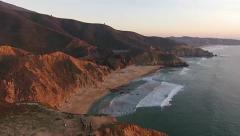 Pacific Coast at sunset aerial Stock Footage