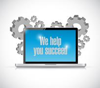 We help you succeed computer business Stock Illustration