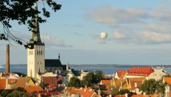 Old town of Tallinn from above, editorial Stock Footage