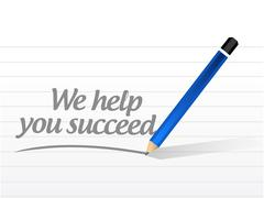 We help you succeed message sign Stock Illustration