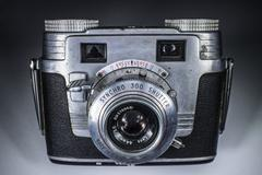 Vintage 35mm film camera - stock photo