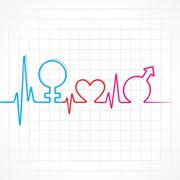 Heartbeat make male,female and heart symbol Stock Illustration