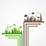 Ecology and pollution concept with brain - stock illustration