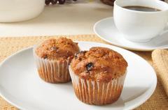 Bran muffins and coffee Stock Photos