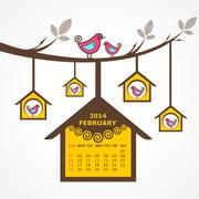 Calendar of february 2014 with birds sit on branch stock vector - stock illustration