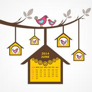 Calendar of june 2014 with birds sit on branch stock vector - stock illustration