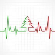 Illustration of heartbeat make christmas symbols - stock illustration