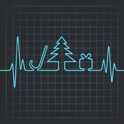 Stock Illustration of Illustration of heartbeat make christmas symbols