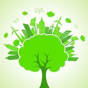 Illustration of ecology concept- save nature - stock illustration