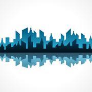 Illustration of abstract blue building design - stock illustration
