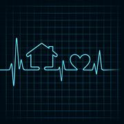 Heartbeat make a home and heart icon stock vector - stock illustration