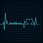 heartbeat make a healthcare text and heart symbol stock vector - stock illustration