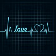 Heartbeat make a love text and heart symbol stock vector Stock Illustration