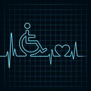 heartbeat make handicapped and heart symbol stock vector - stock illustration