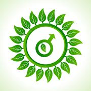 Eco male symbol inside the leaf background stock vector - stock illustration