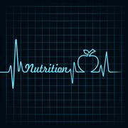 Heartbeat make nutrition word and apple stock vector - stock illustration
