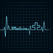 Stock Illustration of heartbeat make medicine word and plus symbol stock vector