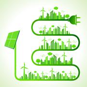 Illustration of ecology concept with solar panel - save nature - stock illustration