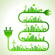 Illustration of ecology concept with electric plug - save nature Stock Illustration