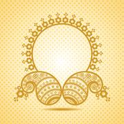 Traditional asian paisley design with copy-space stock vector - stock illustration