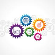 illustration of business icons in cog wheel - stock illustration