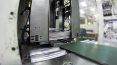 4k print plant factory, magazine line collecting after passing the press roll Stock Footage