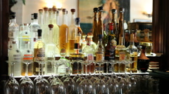 Liquor Bottles at the Bar Stock Footage