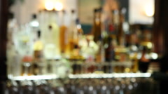 Bar With Liquor Bottles Stock Footage