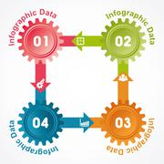 Illustration of creative gears Info-graphics options banner - stock illustration