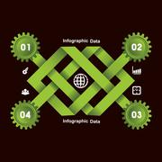 Illustration of creative gears Info-graphics options banner Stock Illustration