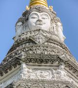 Brahma faces on top of the Chedi, Thailand Stock Photos