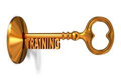 Training - Golden Key is Inserted into the Keyhole Stock Illustration