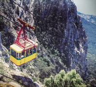 Ropeway in Yalta leading to the top of Ai-Petri mountain Stock Photos