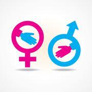 Illustration of businessman handshake background with male and female symbol Stock Illustration