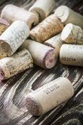 Wine corks famous wine producers Massandra, Chateau, Inkerman, etc. - stock photo