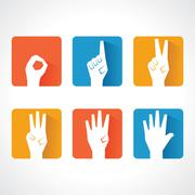 Vector hands make number zero to five with copy-space Stock Illustration