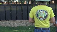 Vietnam veteran visits Vietnam Wall That Heals. Stock Footage
