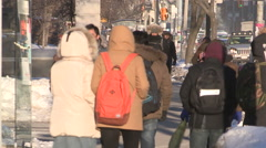 Cold streets of Toronto in cold winter of 2015 Stock Footage