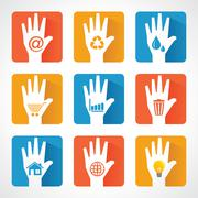 Different icons and design with helping hand stock vector - stock illustration