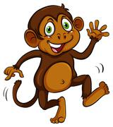 Playful brown monkey - stock illustration