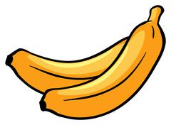 Two ripe bananas - stock illustration
