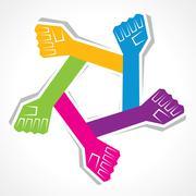 Creative unity hand background- vector illustration - stock illustration
