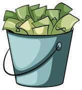 A pail of money - stock illustration