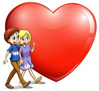 A loving couple - stock illustration