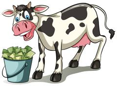 A cow watching the pail - stock illustration