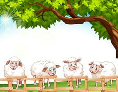 Stock Illustration of Four sheeps