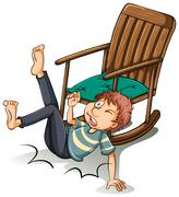 A man who fell off from the chair Stock Illustration